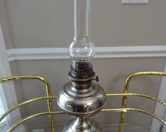Nickel Plated Center Draft Oil Lantern - Rayo 1895 - Antique Lighting