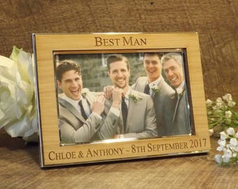 Personalised Engraved Photo Frame Silver Plated with Oak Wood Veneer ~ Ideal Wedding Gift Thank You for Best Man ~ Usher ~ Groomsman (LS)