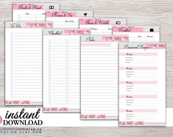 Planner Printable - Notes - To Do - Password Tracker - Lists - Filofax Personal - Kikki K Medium - 3.75x6.75 - Design: Flirty Girl