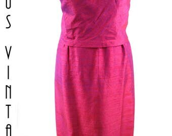 """Plus Size UK 16 Vintage 1960s Pink Silk Evening Gown Couture Mostakim Bespoke Mad Men EU 44 US 12 Bust 42"""" 107cm"""