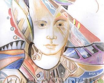 "Goddess series ""Power goddess""  Art Print of original watercolor"
