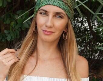 Green Leaves Yoga Headband / Fitness Headband / Workout Headband / Running Headband / Hippie Headband / Turban Boho Headband Yoga Head Wrap