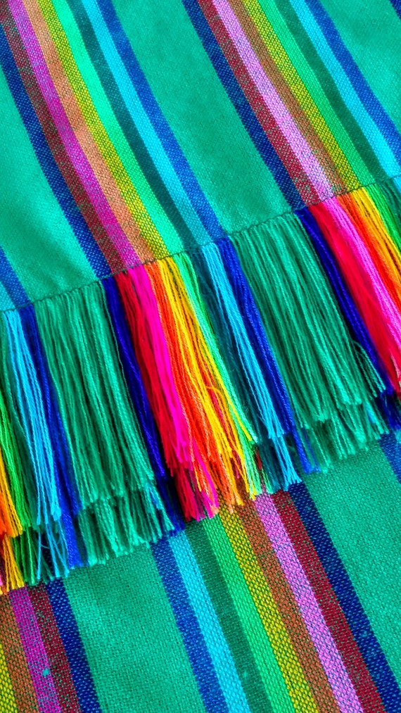 Mexican Rebozo Folk Fabric Mexican fabric Mexican Table