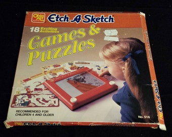 Vintage 1981 Etch A Sketch - 18 Exciting Activities, Games & Puzzles