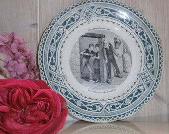 french Ironstone Transferware plate talking Creil and Montereau 19 th proverbs and peasants land of iron 3 - French plate number