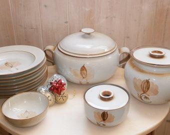 Vintage Service sandstone France pond / / / soup bowl/plates / / Pots - french Vintage Vintage Dinner Service of France pond in Stoneware