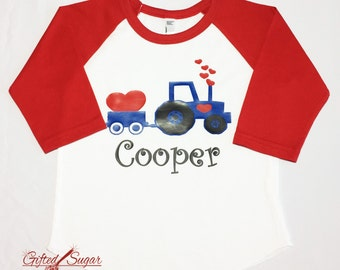 Boys Valentine's Day Shirt, Tractor, Children's Valentine, boy, red, Valentine's Day Gift