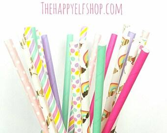 Unicorn party straws. Unicorn straws. rainbow straws. Unicorn party. Unicorn party decor. Unicorn decor. Unicorn cake pop sticks.