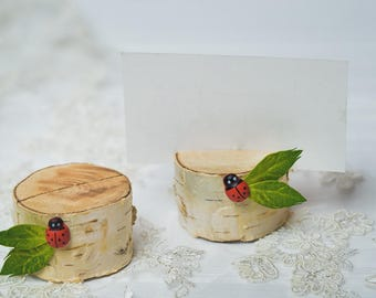 30 set Birch Bark Place Card Holders Wedding table numbers Rustic Bridal Shower decor Rustic wood place card holders Greenery card holders