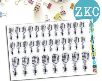 MICROPHONE Planner Stickers | Music Stickers | Concert | Symphony | Singing Stickers | Karaoke Sticker | BUJO stickers | Band | Jazz Band