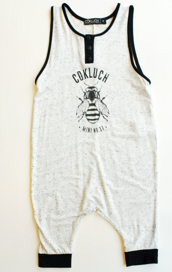 CHAMALLOW - cami strap one pieces with Cokluch Mini No.17 bee, bodysuit, jumpsuit, pantsuit - black and textured white