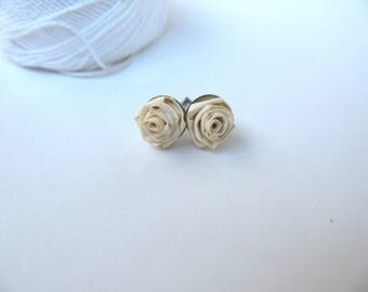Rose flower quilling Stud Earrings, First Anniversary Gift for wife, Romantic gift for her, paper quilled jewelry, Unique gifts for women
