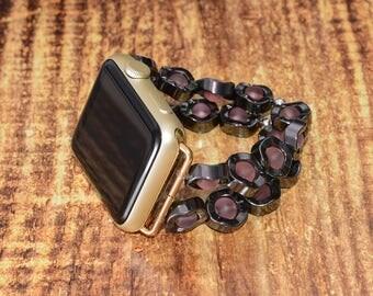 Hematite and Pink Quartz apple watch strap // apple watch band 42mm - iwatch strap iwatch band 38mm - lugs adapter accessories