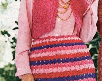 Vintage Bolero & Skirt made from Small Circles Crochet Pattern PDF Instant Download