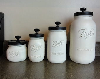 Kitchen canisters etsy for Kitchen jar decoration