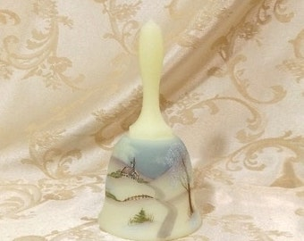 "Vintage 1980 Fenton Custard Satin Art Glass 6"" Bell Hand Painted with Church Scene for Princess House Signed S. Johnson"