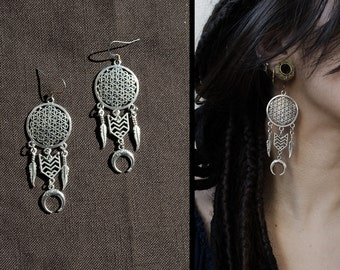 DreamCatcher flower of life and moon earrings, sacred geometry