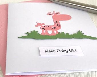 Giraffe New Baby Girl Card - New Baby Girl Card - Hello Baby Girl - Giraffe Card - New Baby Card - Handmade New Baby Girl Card -Welcome Baby