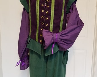 Renaissance Gentleman's Outfit (XL) - Doublet + Shirt + Breeches; Purple/Green