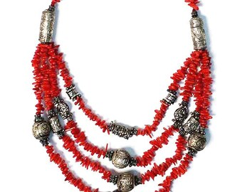 Awesome Tibetan Multi Strand Coral Bead Silver Necklace