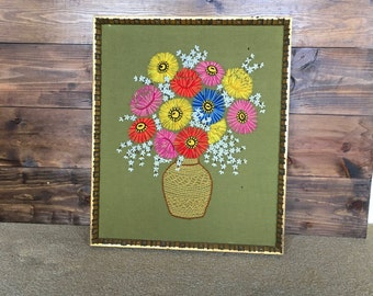 70's Crewel Embroidery Flowers with Vase