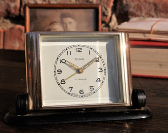 Vintage Table Clock - Mechanical Alarm Clock - Desk Clock Slava - Soviet Clock - Rare Vintage Clock - Office Decor - Home Decor - Nar Mag