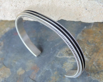 Native American Sterling Deep Lined Cuff Bracelet