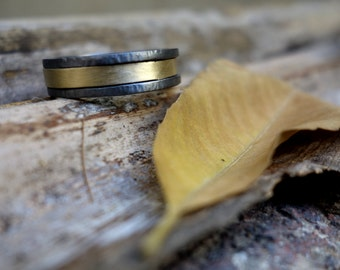 Unique wedding ring Oxidized silver Gold & Silver ring Mixed metals Men's wedding ring Handmade wedding ring Black silver ring Engagement