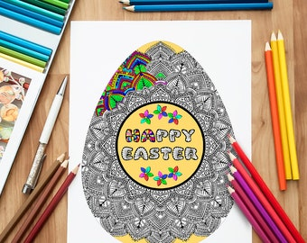 Antistress Easter Egg Coloring Page / Adult Coloring Pages / Kids Coloring Book / Anti stress colouring / Mandala Coloring / Coloring Page