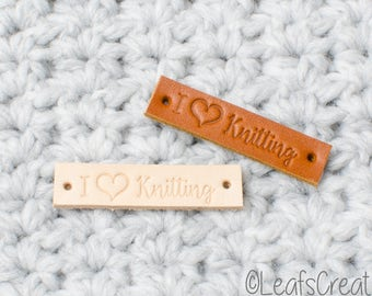 "6, 12, 18 or 24 Pieces Leather labels ""I love Knitting"" - naturel or cognac color"