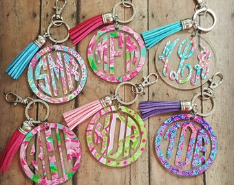 Lilly Pulitzer Inspired Monogram Key Chain, Monogrammed Keychain, Bridesmaid Gift Keychain, Paisley Monogram Key Chain, Tassel Keychain