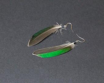 Boho feather earrings, native american earring, natural feather earring, boho earring, boho chic, hippie earrings, Green tribal earrings