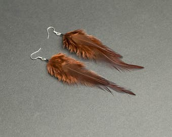 Brown earrings Brown feather earrings Earthy colors Tribal earring Ethnic earrings Gift for her Womens gift Lightweight jewelry Earthy tones