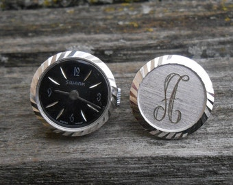 Vintage Watch Cufflinks, Monogram A. Gift for Men, Dad, Groomsmen, Anniversary, Birthday. Letter A