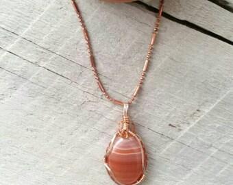 Orange agate necklace, gemstone necklace, orange stone necklace