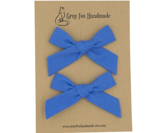 Blue Jay Hand-Tied Bow // Pigtail Set
