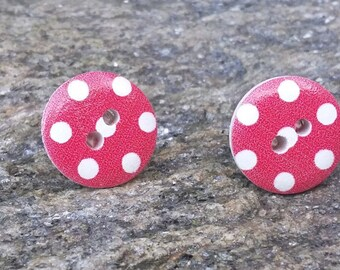 Wooden Button Earrings, Christmas Earrings, Polka Dot Earrings,  Button Earrings, Stocking Filler, Cristmas Gifts