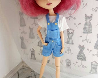 A set of clothes for  doll Pullip.  Overalls and t-shirt.