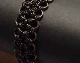 Large Japanese black/brass copper Mesh Bracelet tarnished