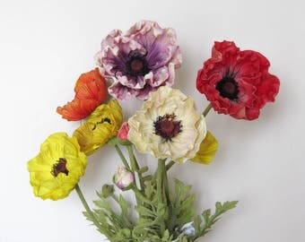 Real Touch Poppy Artificial Flowers/Red/White/Purple/Yellow Poppies/Floral Arrangement/Flower Centerpiece/Home Decor