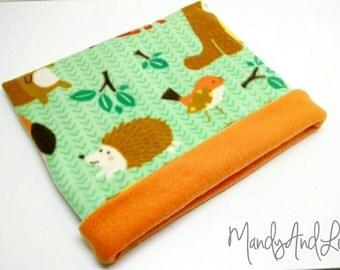 Fleece Snuggle Bag/Cuddle Sack - Woodland/Green/Orange - For Hedgehog / Rat / Guinea Pig / Chinchilla / Ferret / Sugar Glider / Small Animal
