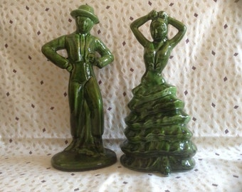 Mid Century Spanish Flamenco Dancer Figurines