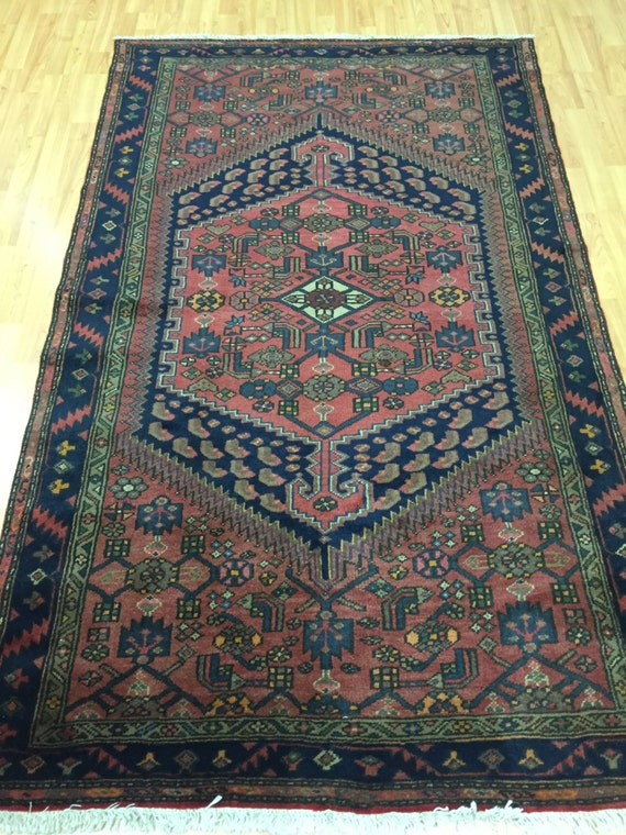 "3'4"" x 6'9"" Antique Persian Hamadan Oriental Rug - 1930s - Hand Made - 100% Wool - Vintage"