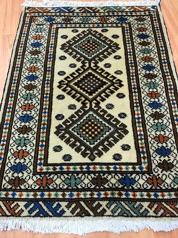 "2'1"" x 2'10"" Persian Turkeman Oriental Rug - 1950s - Hand Made - 100% Wool"