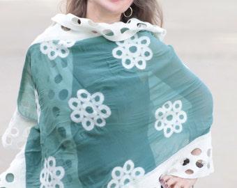 Felted silk shawl wrap, sheer wrap shawl, green shawl, sage shawl wrap, white flowers, geometric pattern, ajour, wearable fiber art