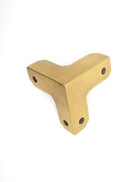4 X Brass Corner Protectors Table Box Corners Trunk Corner