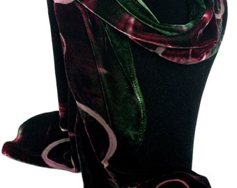 Deep Bottle Green and Purple Hand-Dyed Devore Silk Velvet Scarf with Circles Design Perfect for Valentine's/Mother's Day/Birthday/Christmas