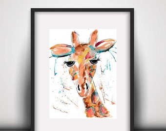 SALE Giraffe art print, Giraffe, giraffe watercolour, giraffe, safari animal, African animal, giraffe illustration, watercolor print