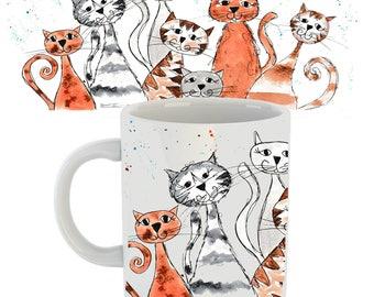 Cat mug, cat gift, cat cup, cat, ceramic mug, personalised cat, personalised gift, crazy cats, cat lover gift