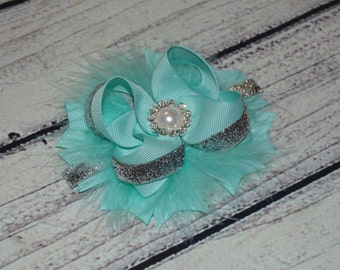 Aqua Hair Bow, Aqua Stacked Hair Bow, Aqua and Silver Hair Bow